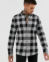 Only & Sons - Smal geruit overhemd van geborsteld katoen - Grijs