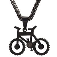 mendes Heren ketting met hanger edelstaal Black Bicycle