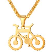 mendes Heren ketting met hanger edelstaal Gold Bicycle