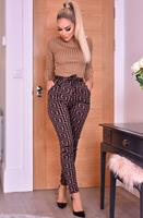 exclusivepremium Inna hoge taille broek met riem bruin