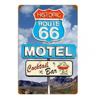 fiftiesstore Historic Route 66 Motel Zwaar Metalen Bord