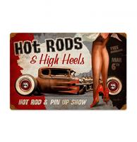 fiftiesstore Hot Rods & High Heels Pin Up Show Zwaar Metalen Bord