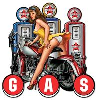 fiftiesstore Gas Pump Pinup Ameri-Gas Motorcycle Zwaar Metalen Bord 76 x 76 cm Groot