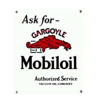 fiftiesstore Ask for Gargoyle Mobiloil Emaille Logo bord Groot