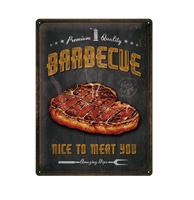 fiftiesstore Tinnen Bord 30 x 40 Barbecue Nice To Meat You