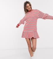 ASOS DESIGN - Petite - Gestreepte mini-sweaterjurk met ruches in rood en wit-Multi
