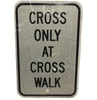 fiftiesstore Cross Only At Cross Walks Metalen Straatbord - Origineel