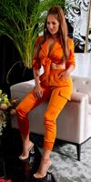 cosmodacollection Trendy set satijn look broek & crop top oranje