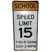 fiftiesstore School Speed Limit 15 Metalen Straatbord - Origineel