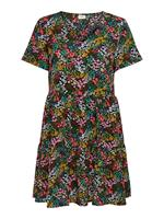 Only Printed Short Sleeved Dress Dames Zwart