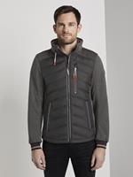 Tom Tailor Hybrid Fleece Jas, Heren, Black