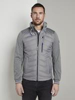Tom Tailor Hybrid Fleece Jas, Heren, Medium Silver Grey