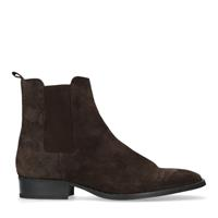 Manfield Donkerbruine chelsea boots