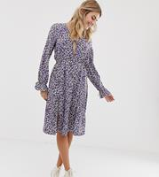 Wednesday's Girl - Midi-cocktailjurk met gestrikte voorkant en vintage bloemenprint-Multi