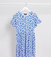 Wednesday's Girl - Aangerimpelde mini-jurk in vintage bloemenprint-Wit