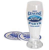 fiftiesstore Ford Only Genuine Parts Used Here Pilsglas Cadeau Set - Incl. Onderzetters