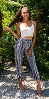 cosmodacollection Trendy hoge taille zomer-broek met print turkoois-kleurig