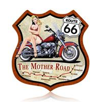 fiftiesstore Route 66 Pin Up Bike Zwaar Metalen Bord