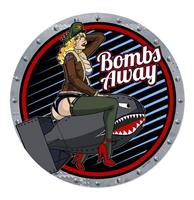 fiftiesstore Bombs Away Aviation Pin-Up Retro Zwaar Metalen Bord 35,5 cm