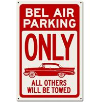 fiftiesstore Chevrolet Bel Air Parking Only Zwaar Metalen Bord 60 x 40 cm