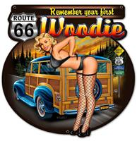 fiftiesstore Remember Your First Woodie Route 66 Retro Zwaar Metalen Bord 60 X 60 cm
