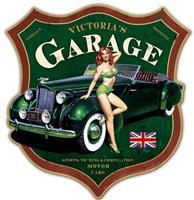 fiftiesstore Victoria's Garage Zwaar Metalen Bord 66 x 70 cm