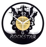 fiftiesstore Vinyl Klok Rockstar Rockband - Gemaakt Van Een Gerecyclede Plaat