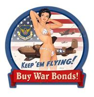 fiftiesstore KeepEm Flying! Buy War Bonds! Pin Up Vrouw Zwaar Metalen Bord - 38 x 40 cm