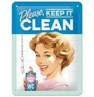 Please, Keep It Clean Metalen Bord Met Reliëf - 15 x 20 cm