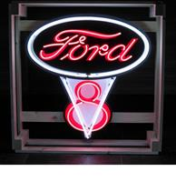 fiftiesstore Ford V8 Neon Verlichting - Extra Groot - 80 x 90 cm