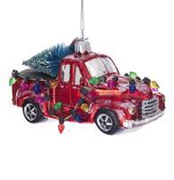 fiftiesstore Truck with Christmas Trees Glass Ornament