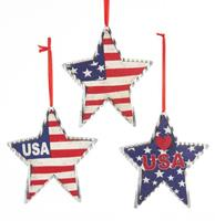 fiftiesstore Wooden/Metal Americana Star Ornament Set of 3