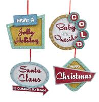 fiftiesstore Merry Christmas Quotes Christmas Ornaments - Set Of 4