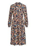 Vila Patterned Long Sleeved Dress Dames Blauw