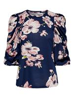 Only Floral 3/4 Sleeved Top Dames Blauw