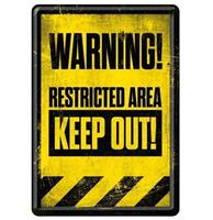 fiftiesstore Warning Restricted Area Keep Out Metal Postcard