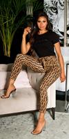 cosmodacollection Sexy hoge taille broek met riem bruin