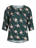 Vila Round Neck 3/4 Sleeved Top Dames Green