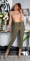 cosmodacollection Sexy sporty broek met tailleband khaki