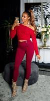 cosmodacollection Sexy skinny hoge taille broek met decoratieve knopen bordeaux