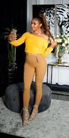 cosmodacollection Sexy skinny hoge taille broek met decoratieve knopen brons