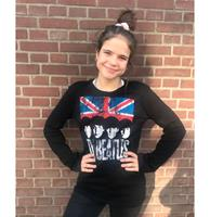 fiftiesstore Dames Lange Mouwen T-shirt The Beatles UK Vlag