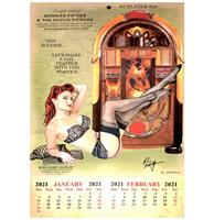 fiftiesstore 2021-2022 Kalender Wurlitzer 850 Peacock Jukebox Pin Up Miss Ruby Darlin' Bennies Fifties
