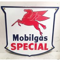 fiftiesstore Mobilgas Special Pegasus Logo Emaille Bord Shaped