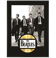 fiftiesstore The Beatles - In London Ingelijste Poster Met Gouden Plaat