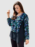 M. collection Blouse  Zwart::Blauw::Groen