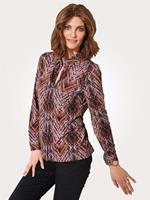 Mona Jersey blouse  Bruin::Rood::Berry::Wit