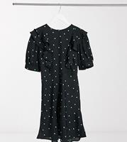 New Look Tall - Mini-jurk met ruches in zwart met polkadot