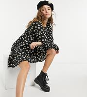 Wednesday's Girl - Mini-skaterjurk met madeliefjesprint-Zwart