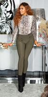 cosmodacollection Sexy hoge taille broek/leggings met decoratieve knopen khaki